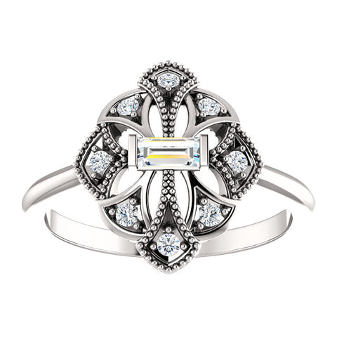 14K White 1/5 CTW Diamond Vintage-Inspired Ring