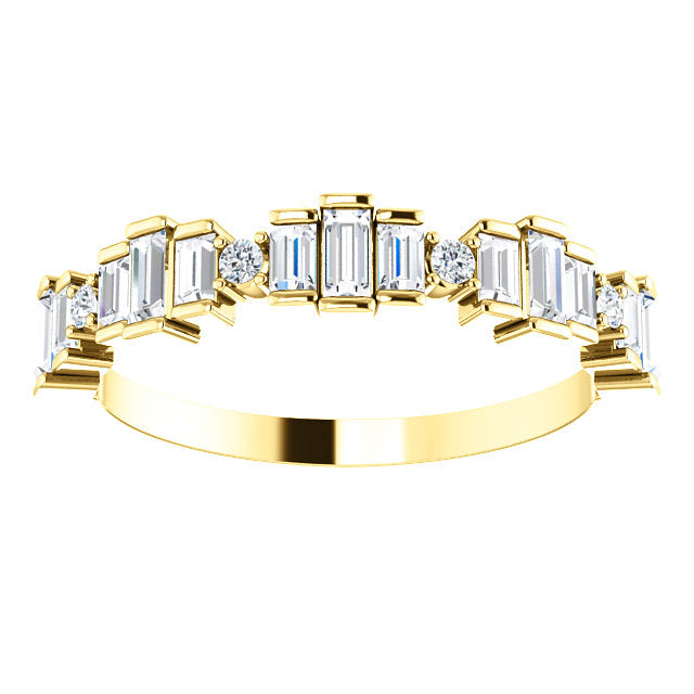 LADIES 14K YELLOW GOLD ANNIVERSARY BAND 3/4CTW