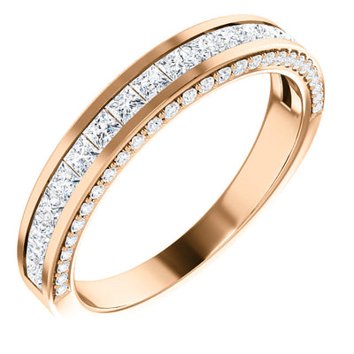 LADIES 14K ROSE GOLD PRINCESS CUT DIAMOND BAND 3/4 CTW