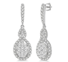 1 1/4 ctw Oval Shape Dangling Lovebright Round Cut Diamond Earring in 14K White Gold