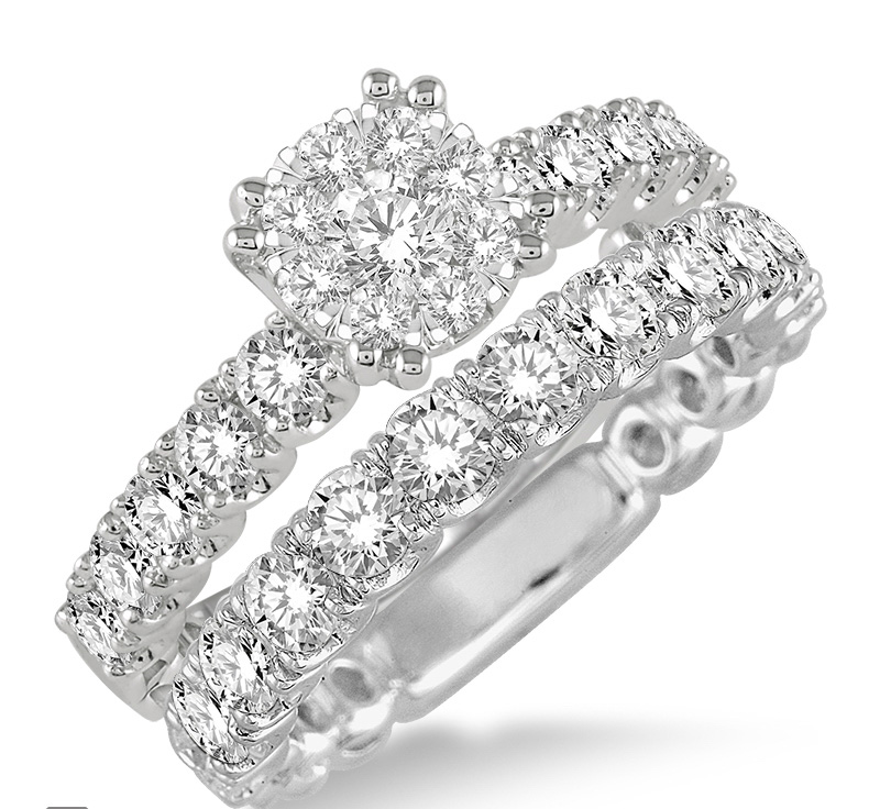 1 3/4 Ctw Diamond Lovebright Wedding Set with 1 Ctw Engagement Ring and 3/4 Ctw Wedding Band in 14K White Gold