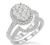 1 1/4 Ctw Oval Shape Diamond Lovebright Wedding Set with 1 Ctw Engagement Ring and 1/4 Ctw Wedding Band in 14K White Gold