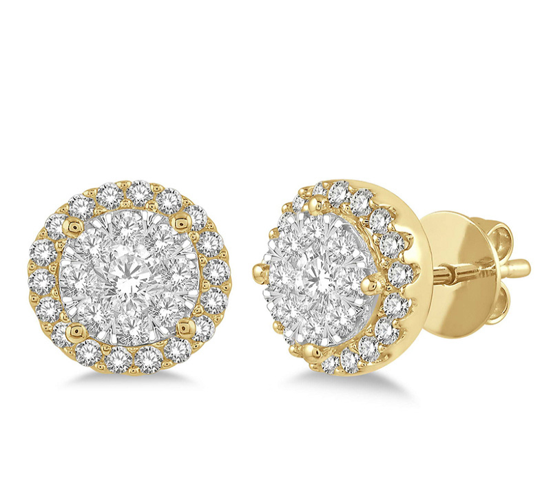1/2 Ctw Lovebright Round Cut Diamond Stud Earrings in 14K Yellow and White Gold