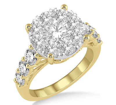 2 Ctw Round Diamond Lovebright Ring in 14K Yellow and White Gold