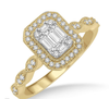1/3 ct Octagonal Center Marquise Shank Round Cut and Baguette Diamond Ring in 14K Yellow and White Gold