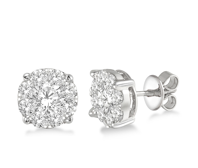 1 1/2 Ctw Lovebright Round Cut Diamond Earrings in 14K White Gold