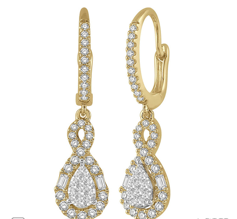 5/8 Ctw Pear Shape Lovebright Diamond Earrings in 14K Yellow and White Gold