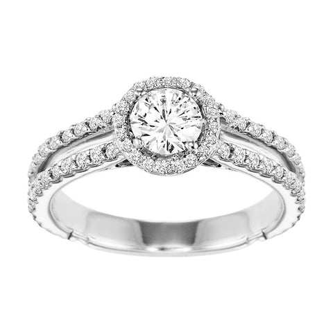 14K White Gold Diamond Engagement Ring 5/8 ct With 1/2 ct Center Diamond