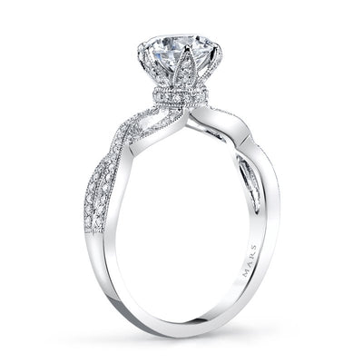 14K WG FLORAL DIAMOND ENGAGEMENT RING 0.21CTW