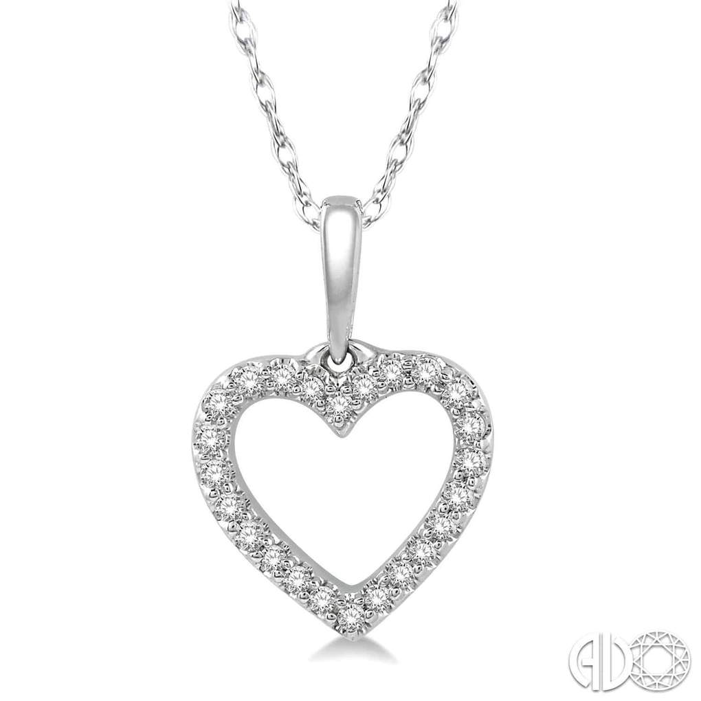 Heart Charm Round Cut Diamond Pendant