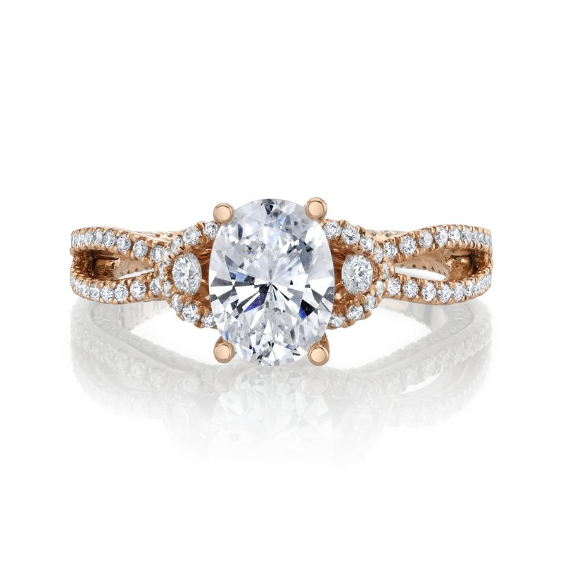 14k Rose Gold Oval Diamond Engagement Ring 2.00ctw
