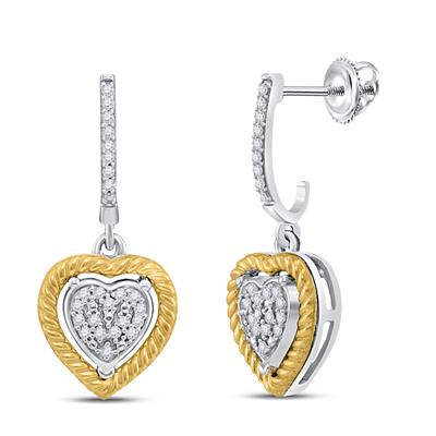 10KT TWO-TONE GOLD ROUND DIAMOND ROPE HEART DANGLE EARRINGS 1/8 CTW