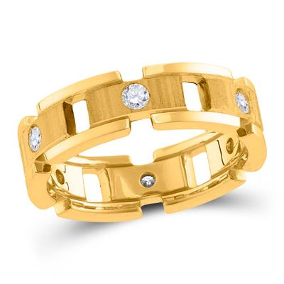 14K YELLOW GOLD CHAIN LINK MENS RING .50CTW