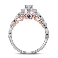 Load image into Gallery viewer, 14K TWO-TONE GOLD OVAL DIAMOND SOLITAIRE BRIDAL ENGAGEMENT RING 3/4 CTW (CERTIFIED)