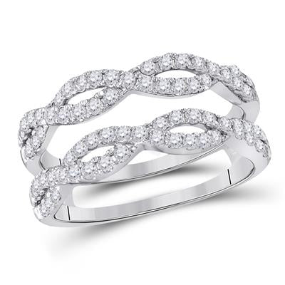 14K WHITE GOLD ROUND DIAMOND WRAP RING GUARD ENHANCER 3/4 CTTW