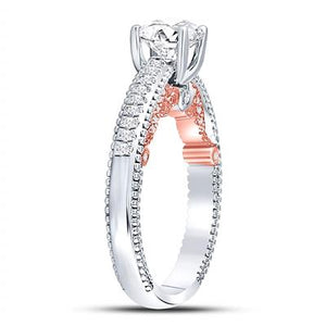 14K TWO TONE ENGAGEMENT RING 1 1/3CTW