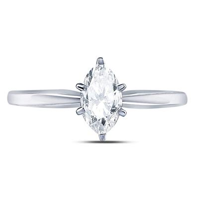 14k White Gold Marquise Diamond Solitaire 3/4ctw