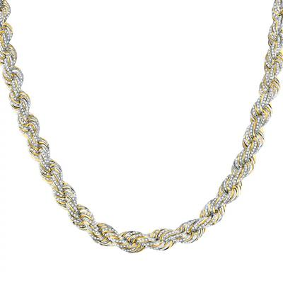 Two Tone Diamond Rope Chain 19 Carats