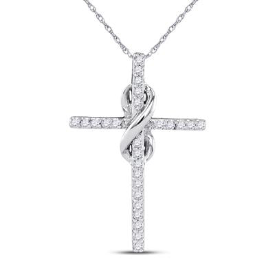 White Gold Infinity Diamond Cross