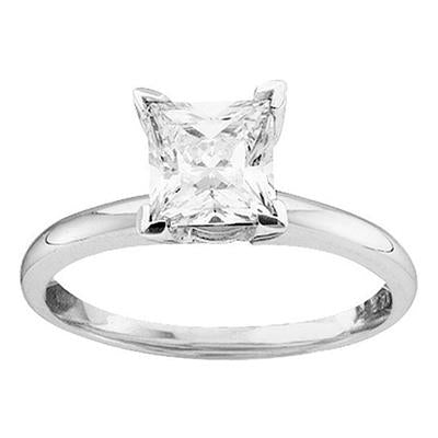 1 Carat Princess Cut Diamond Solitaire Engagement Ring