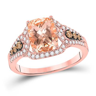 14k Rose Gold Morganite Diamond Ring