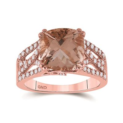 14k Rose Gold Cushion Morganite Diamond Ring