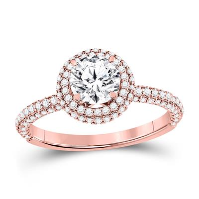14K ROSE GOLD ROUND DIAMOND SOLITAIRE BRIDAL ENGAGEMENT RING 1-5/8 CTW (CERTIFIED)