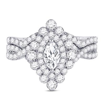 14K WHITE GOLD MARQUISE DIAMOND BRIDAL WEDDING RING SET 2 CTTW (CERTIFIED)