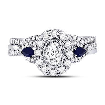 14k White gold oval shape 0.87tw Bridal Set Genuine Sapphires