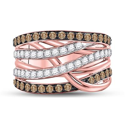 Rose gold Champagne Diamond Crossover Ring 1.75tw