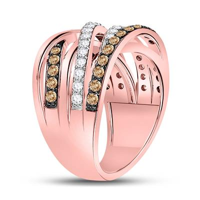 Rose gold Champagne Diamond Crossover Ring 1.30tw