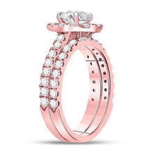 Load image into Gallery viewer, 14K ROSE GOLD OVAL DIAMOND BRIDAL WEDDING RING SET 1-7/8 CTTW (CERTIFIED)