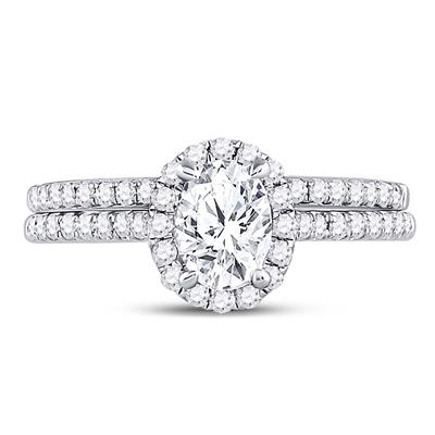 14K WHITE GOLD OVAL DIAMOND BRIDAL WEDDING RING SET 1-1/3 CTW (CERTIFIED)