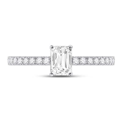 14k White Gold Emerald Cut Engagement Ring 1 Ctw
