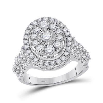 14k White Gold Oval Shape Engagement Ring 1.62ctw
