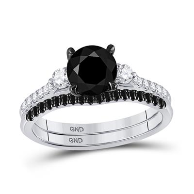 14K WHITE GOLD ROUND BLACK DIAMOND BRIDAL WEDDING RING SET 1-7/8 CTTW