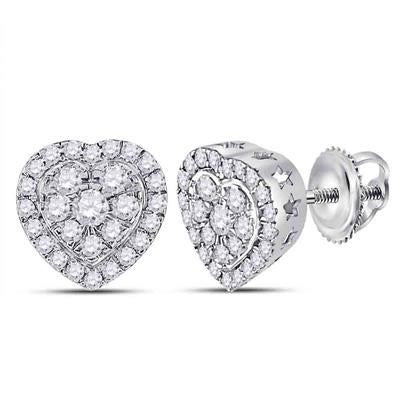 10K WHITE GOLD ROUND DIAMOND HEART EARRINGS 1/2 CTTW