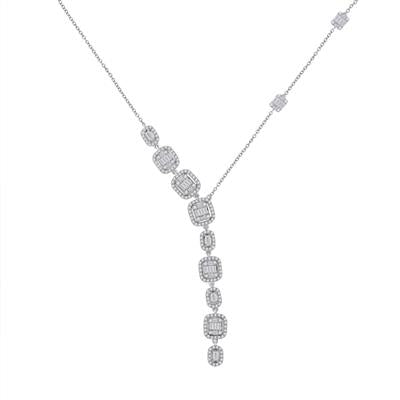 14k Diamond Baguette Diamond Necklace