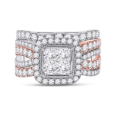 Two Tone Diamond Bridal Set 3 Carats
