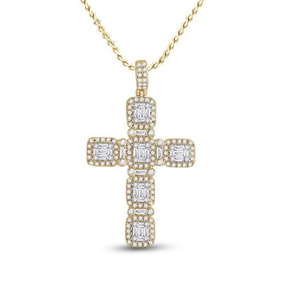 Yellow Gold Baguette Diamond Cross 2 Carats