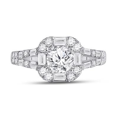 14K WHITE GOLD ROUND DIAMOND SOLITAIRE BRIDAL ENGAGEMENT RING 1-3/4 CTTW (CERTIFIED)
