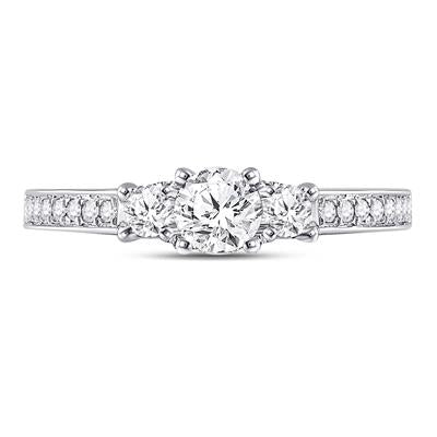 14k White gold 3 Stone Engagement Ring 1ctw Certified