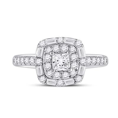 14K White Gold Halo 1 Carat Engagement Ring