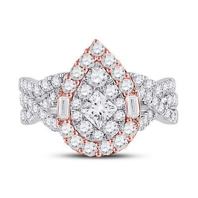 Two Tone Pear Shape Bridal Set 2 Carats