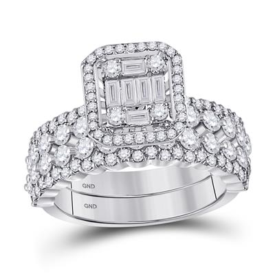 14K WHITE GOLD BAGUETTE DIAMOND BRIDAL WEDDING RING SET 1-7/8 CTTW
