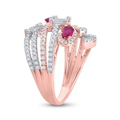 14K ROSE GOLD OVAL RUBY DIAMOND SPIRAL COCKTAIL RING 1 3/4ctw