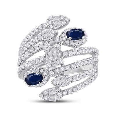 White Gold Oval Sapphire Diamond Ring 1.75tw