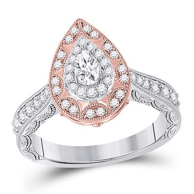 Two Tone Pear Shape Diamond Engagement Ring .75ctw