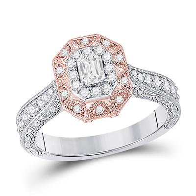 White/Rose Gold Emerald Cut Engagement Ring .75ctw