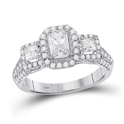 Past Present Future Emerald Princess Cut Engagement Ring